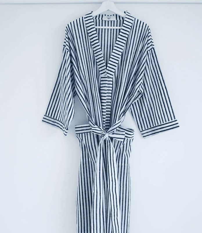 shop karu striped robe midnight blue